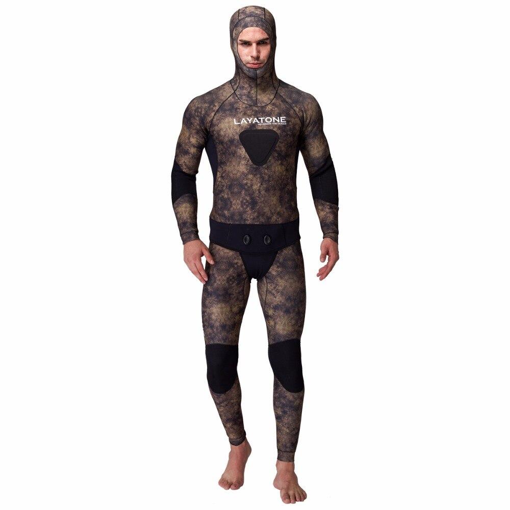 Layatone 5mm néoprène combinaisons hommes chasse sous-marine Camo costume une pièce combinaison de plongée Split combinaison pêche chasse vêtements
