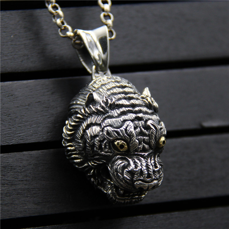 C&R Real 925 Sterling Silver Pendant Necklace Vintage Thai Silver Personality Tiger Head with gold eyes Men Fine Jewelry c&r real 925 sterling silver necklace retro gold horn evil personalized pendant thai silver amulet fine jewelry