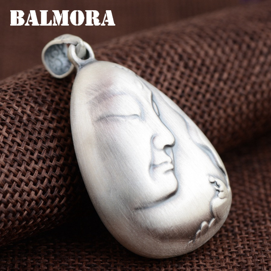 BALMORA 999 Pure Silver Buddha & Lotus Flower Pendants for Women Men Buddhistic Jewelry Accessories Without a Chain SY13294 men without women