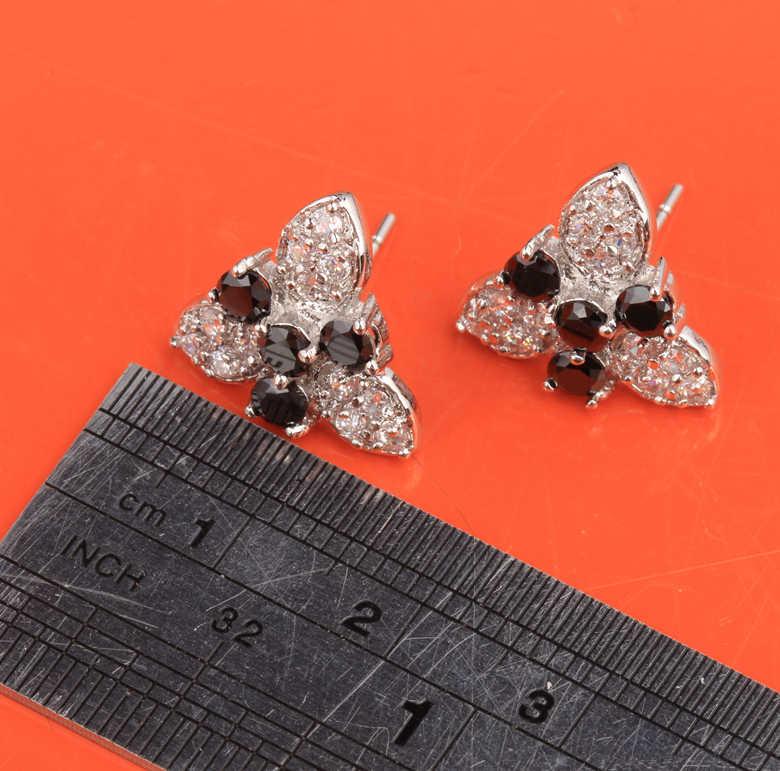 โดยตรงสีดำ ONYX & Zircon Silver Plated เงิน Studs ต่างหู 4 กลีบพลัม Blossom ผู้หญิงเครื่องประดับ S5094