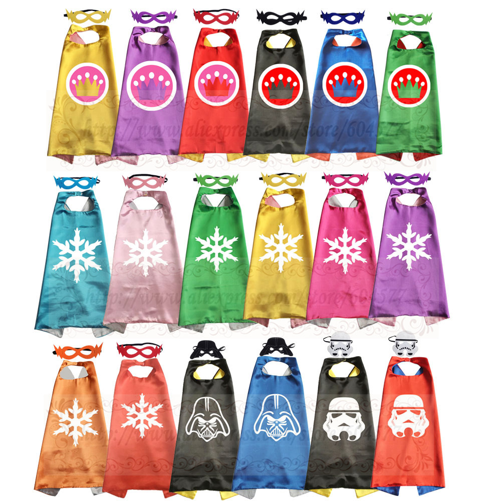 Boys and girls Crown Princess Cosplay Costume Capes with masks for Theme Birthday Party Supply set
