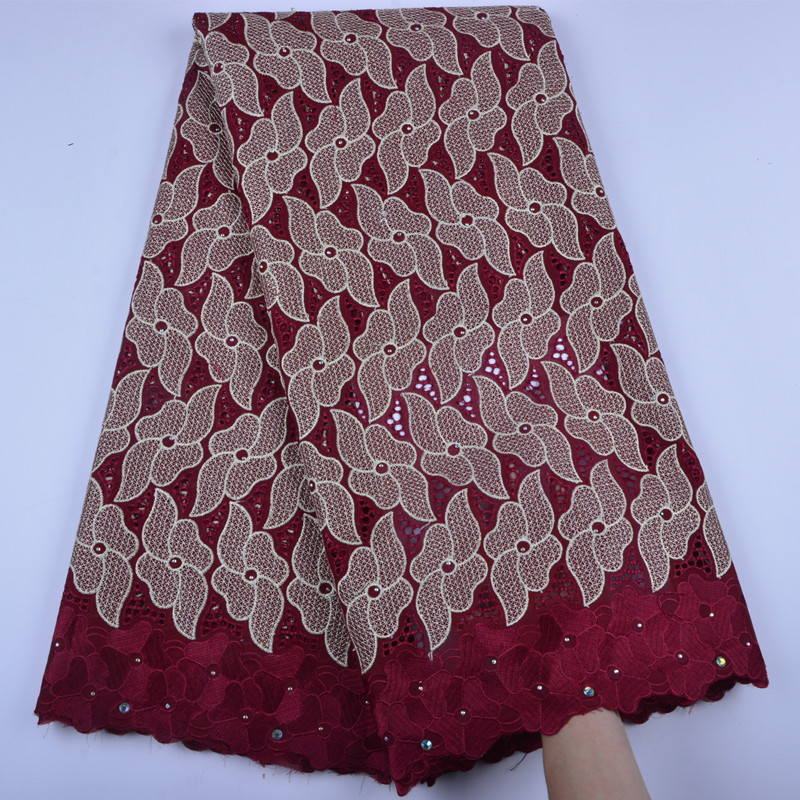 Nigerian Lace Fabrics 2019 African Swiss Voile Lace High Quality Red French Swiss Voile Lace in