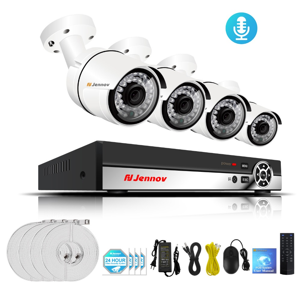 1080P 4CH POE Video Surveillance System CCTV Camera System 48V Metal Outdoor Home Security IP Camera 2MP Audio Set HDMI NVR Kit 6ch poe 1080p 2mp audio record home security camera with led light video surveillance system kit cctv set nvr outdoor ipcam ir