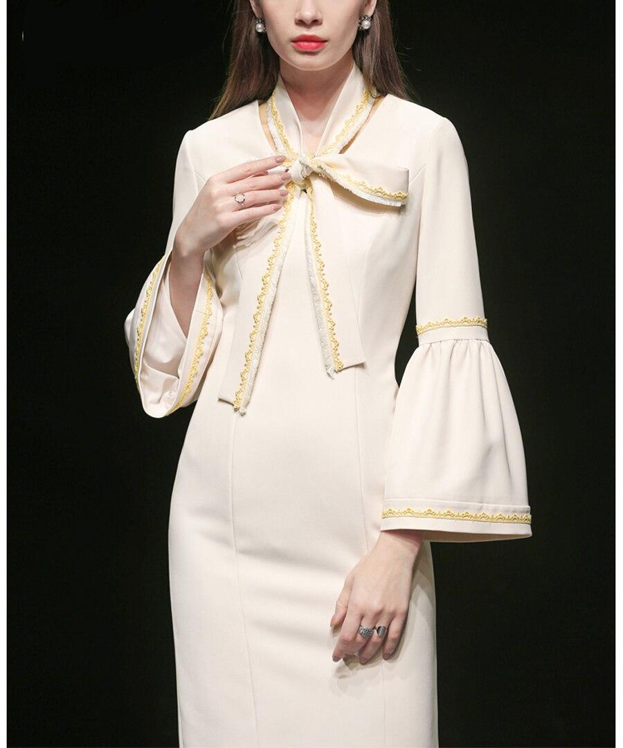 Douille Fusée Genou Dame Robe Nouvelle cou Roosarosee Rouge Printemps Du Designer Russie De Élégant Sexy Mode Palais 2019 V Beige dessus fwqZfgHyax