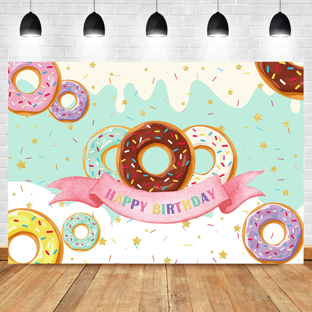 Donut Theme Backdrops for Photography Happy Birthday Party Banner Decoration Sweet Chocolate Girl Birthday Photo Background