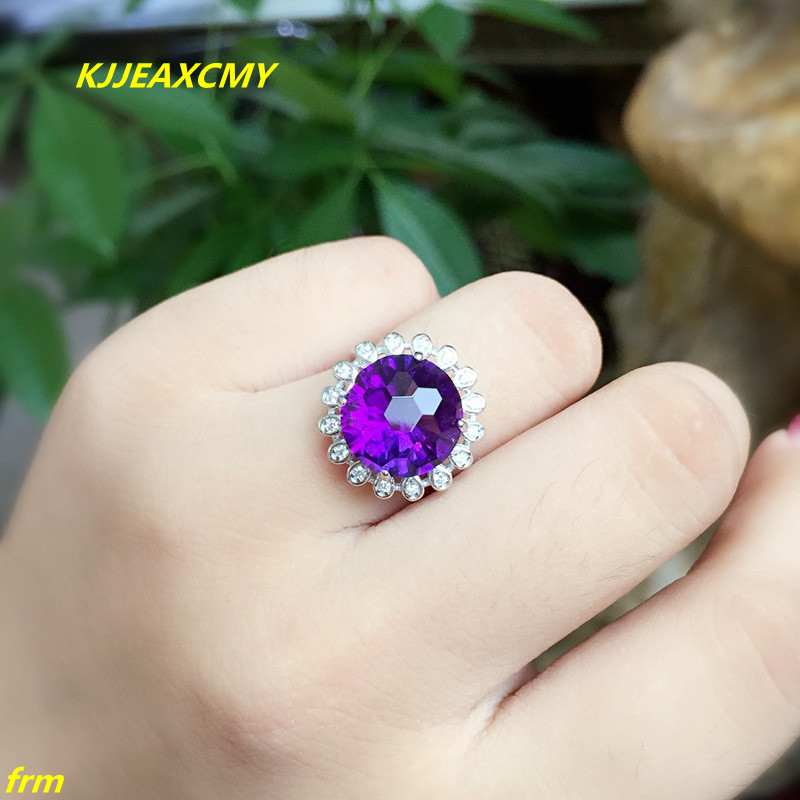 KJJEAXCMY Fine jewelry 925 sterling silver inlaid natural amethyst ring wholesale opening ladies adjustable support testing