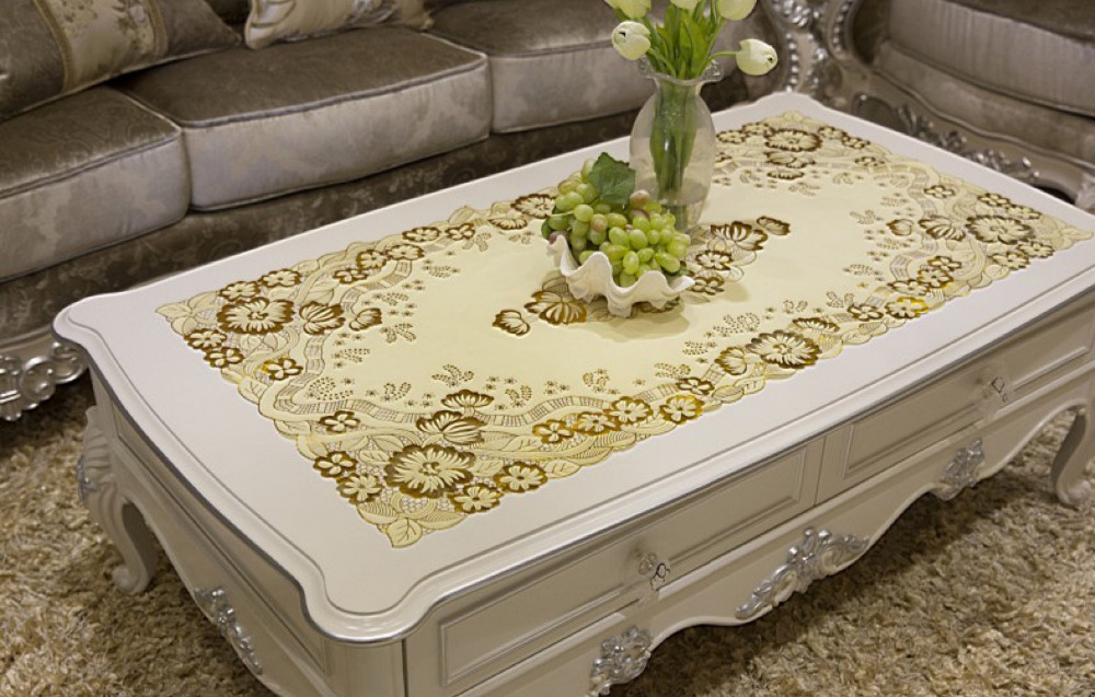 Rectangular 60x120cm PVC Tablecloths Waterproof Coffee Dining Table Cover Mat Pads Gold Floral Cloth Placemat