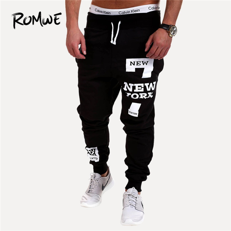 Romwe Men Drawstring Waist Solid Tapered Joggers 2019 Hottest Streetwear Mid Waist Men Pants Spring Autumn Pocket Trousers Men's Clothing