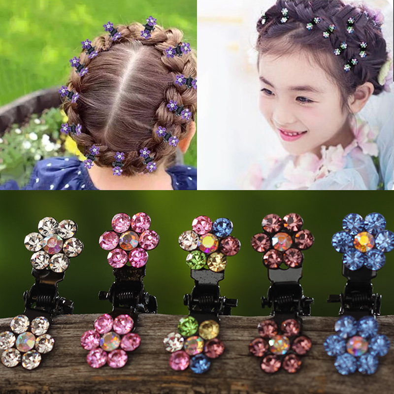 M MISM 12pcs/pack Crystal Rhinestone Flower Hair Claw Hairpins Hair Accessories Ornaments Hair Clips Hairgrip for Kids Girl mism girl french hair bun maker multifunctional hair accessories for women fine roller curls styling holder curlers headbands