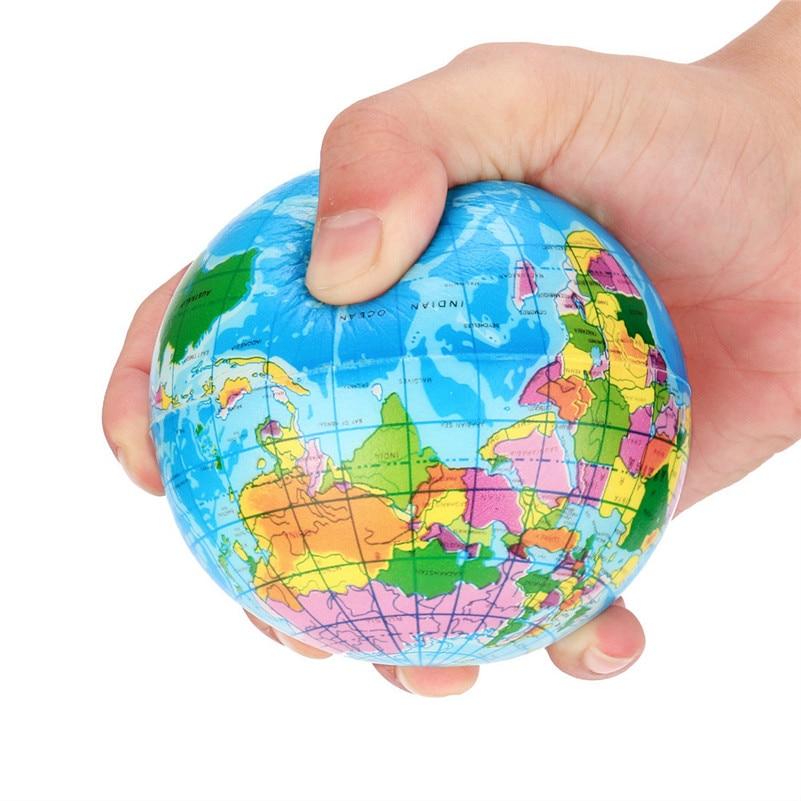 Stress Relief World Map Foam Ball Atlas Globe Palm Ball Planet Earth Ball Interactive Rubber Balls For Kid A1(China)