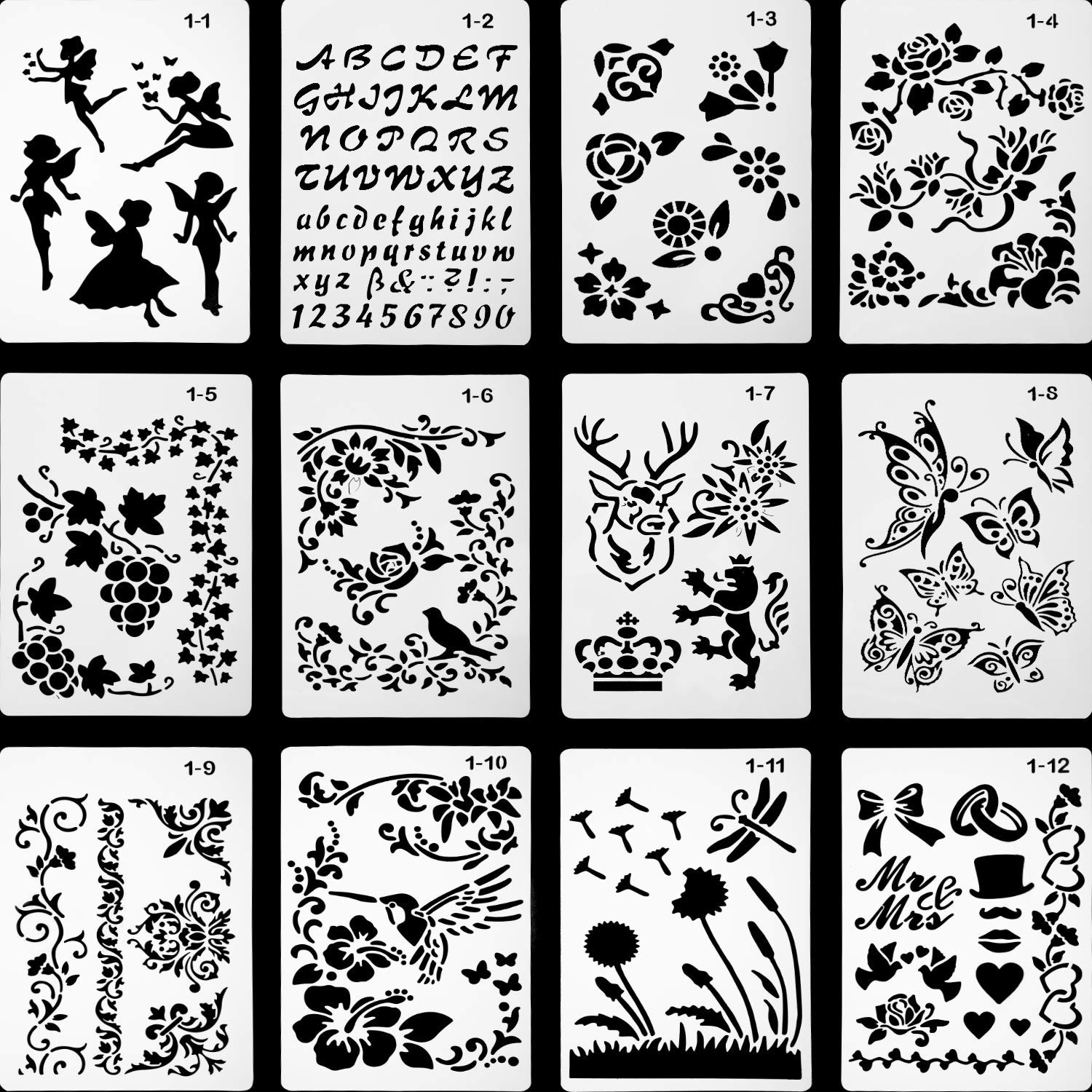 Plastic Shapes Stencils for 12pcs Drawing Painting Stencils Scale Template Sets