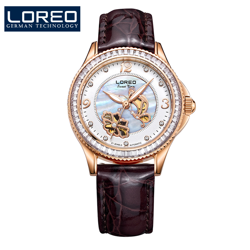 LOREO automatic mechanical Pearl dial Austria diamond Leather belt 50m waterproof 316L stainless steel women simple luxury watch loreo luxury brand austria diamond automatic mechanical pearl dial inlay diamond sapphire calendar water resistant lady watch