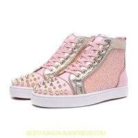Женская обувь розовый блеск Blingbling кроссовки женские изысканные Шипы Повседневная обувь серебристого цвета обувь на платформе с высоким бе