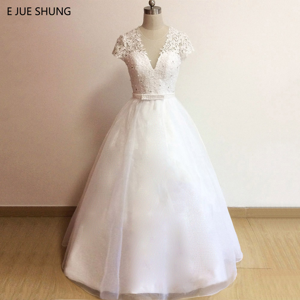 Pearl Wedding Gowns: E JUE SHUNG White Lace Appliques Pearls Wedding Dresses
