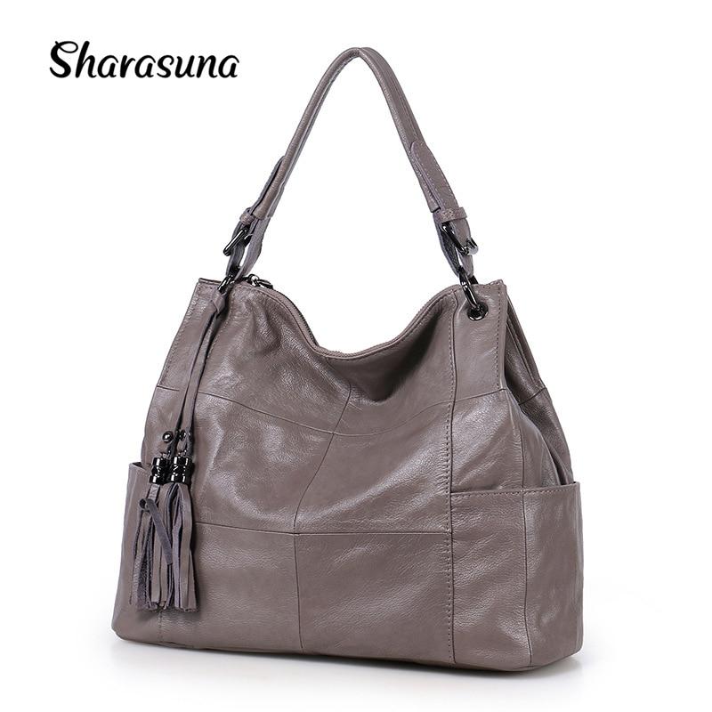 купить Sharasuna 2018 New Fashion Women Crossbody Bags Genuine Leather Handbags Women Famous Brand Tote Ladies Shoulder Bag Designer по цене 3739.86 рублей