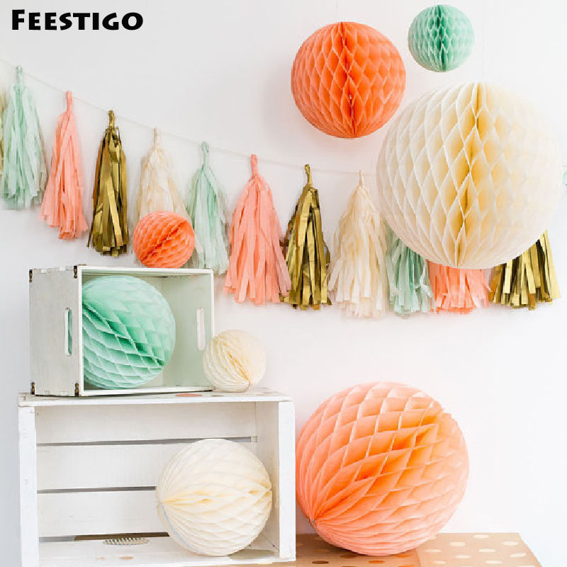 1Pcs Flower Tissue Paper Lanterns Honeycomb Ball Ornament For Wedding Party Decoration Birthday Party Home Garden Hanging Decor