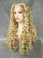 N18-613/27 Stunning Curly Synthetic Lace Front blonde Wig Rupaul Wig