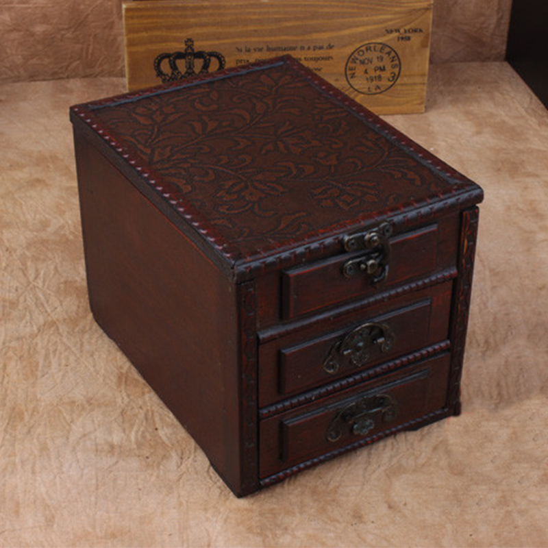 Vintage Wooden Storage Box Jewelry Makeup Organizer Wood