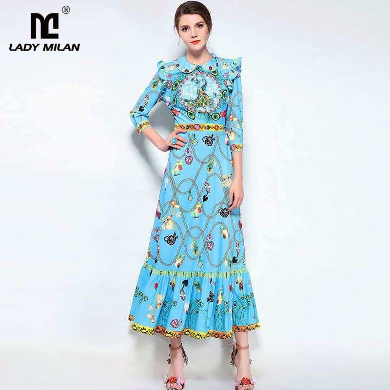 New Arrival 2018 Womens Peter Pan Collar 3/4 Sleeves Ruffles Casual Designer Fashion Dresses