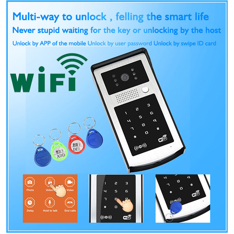 Android ISO App WIFI Video Door Phone RFID & Code Keypad Doorbell Electric Lock System Apply to Families/floors/villas/apartment digital electric best rfid hotel electronic door lock for flat apartment