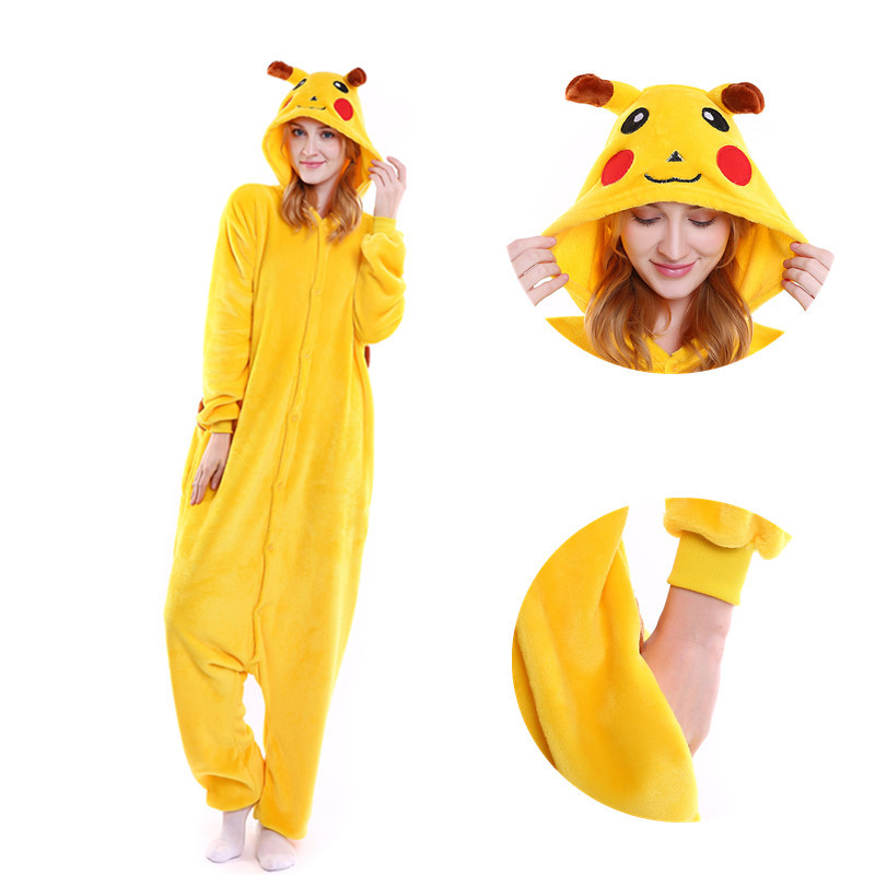 Pikachu Women Cosplay Kigurumi Onesie Adult Funny Animal Sleepwear For Man Loose Warm Anime Pajamas Jumpsuit Winter Onepiece