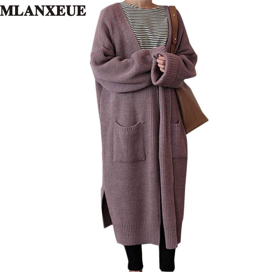 korean Long Cardigan Women Autumn 2017 Fashion Long Knitted Sweater Female Oversized Tops Fall Casual Black Coat Winter Clothing