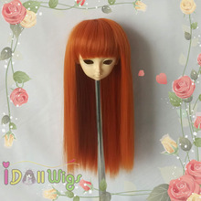 Cute Silky straight deep orange synthetic bjd doll wig no tangle  1/3 1/4 1/6 for choice brand new heat resistant synthetic pink purple blended straight soft bjd doll wig with bangs 1 3 1 4 1 6 1 8 for choice
