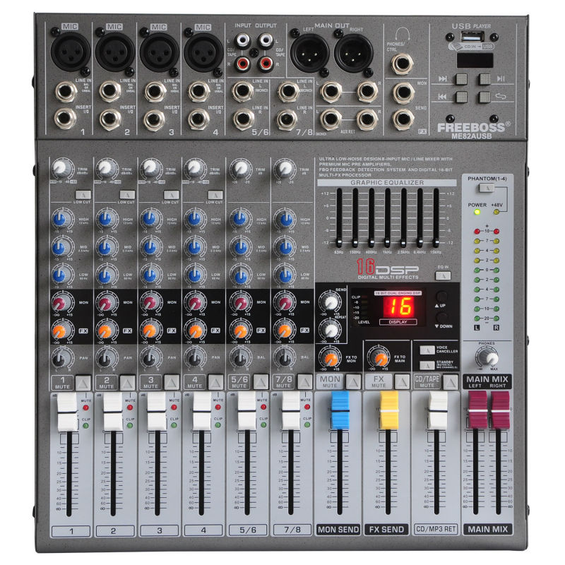 FreeBoss ME82 Ultra low noise 4 Mono + 2 stereo 8 canali 16 Console mixer audio professionale DSP USB dj