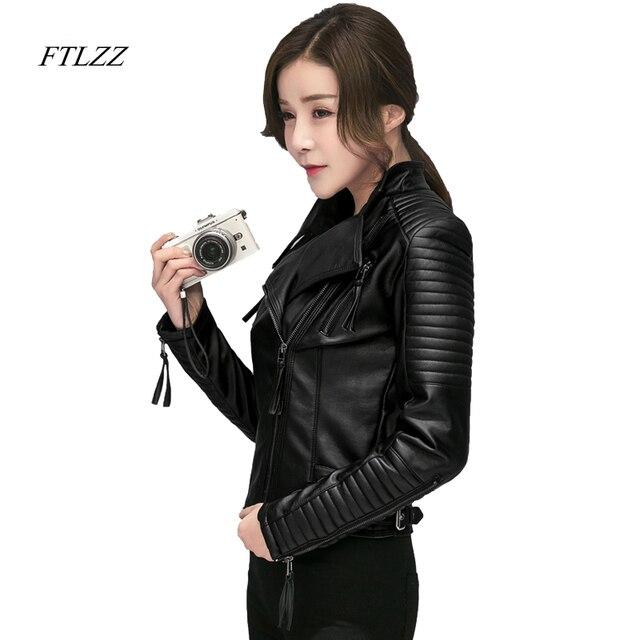 FTLZZ Mới Mùa Xuân Mùa Thu Phụ Nữ Faux Leather Jacket Mềm Pu Đen Blazer Dây Kéo Áo Khoác Xe Máy Biker Áo Khoác