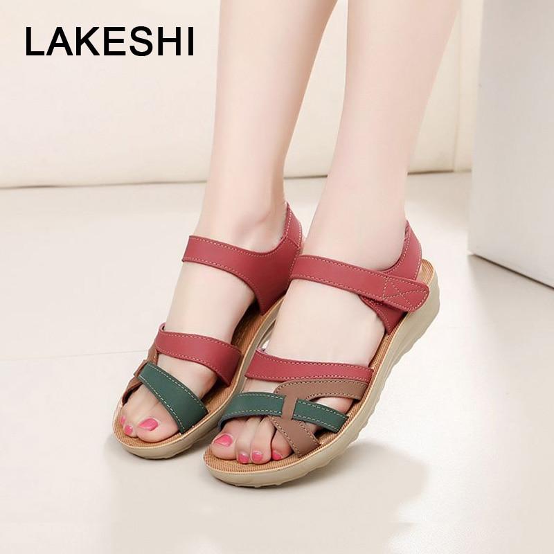 0f474b49792b LAKESHI Summer Women Sandals Bohemian Flat Sandals Women Flip Flops Mothers  Shoes Soft Open Toe Casual Beach Shoes Big Size 41
