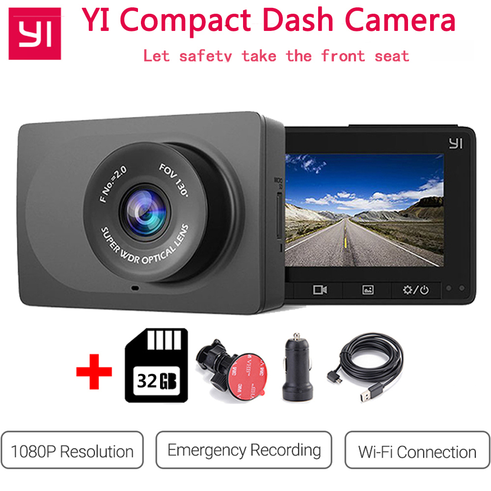 Xiaomi YI Compact Dash Camera 1080p Full HD Car Dashboard Camera 130 WDR Lens G Sensor