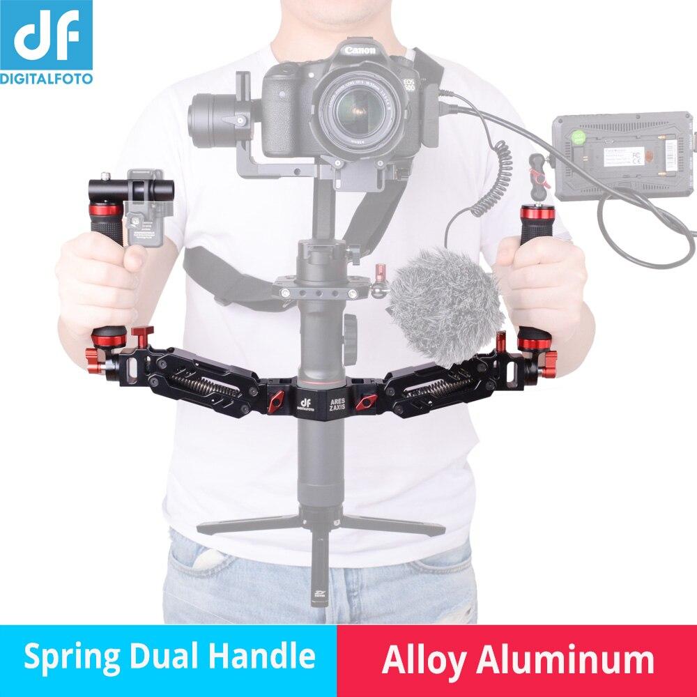 Ares di Alluminio staccabile Molla di Smorzamento Doppia Maniglia per DJI Ronin S ZHIYUN Gru 2/Gru/Plus/Gru V2 FEIYU AK2000 AK4000