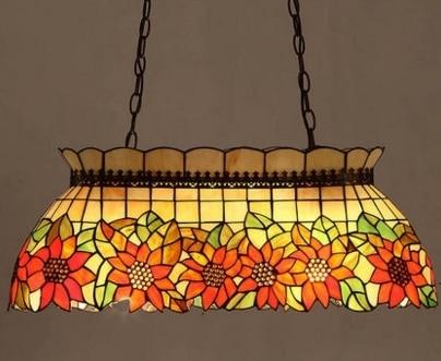 Mediterranean Art European Tiffany Style Sunflower Pendant Lamp Rectangle Dining Room
