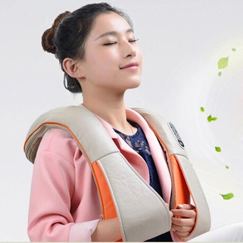 Angelruila U Форма Homehold массажер для шеи электрические шиацу сзади массажеры для тела 3D Beat Massagem без каблука ЕС Plug