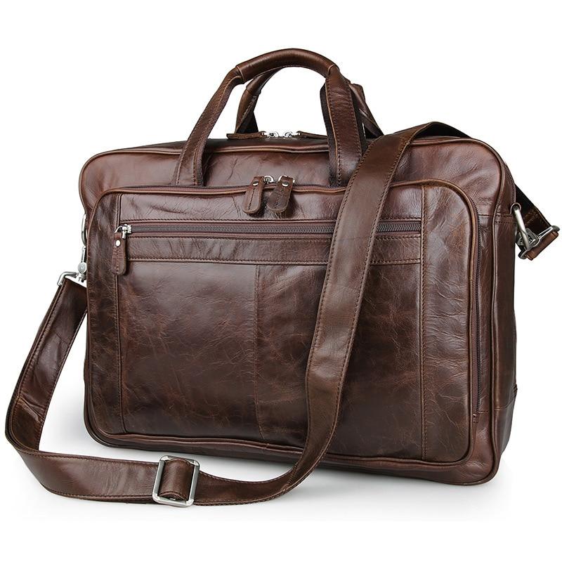 Nesitu Vintage Coffee Color Real Skin Genuine Leather Briefcase Man Portfolio 14 inch Laptop Men Messenger Bags #M7320