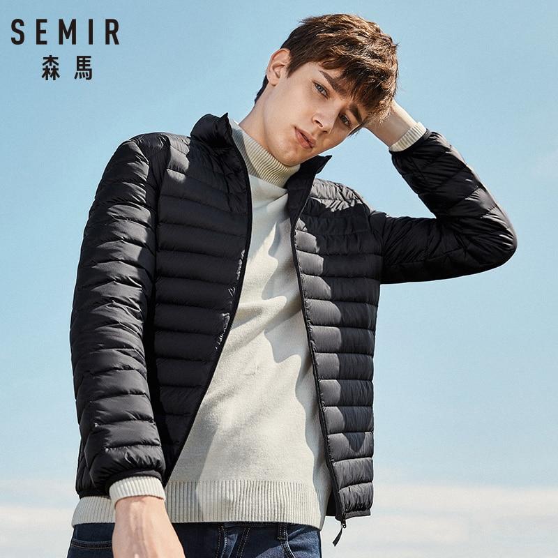 Portabilidade SEMIR 2019 homens Para Baixo Homens Jaqueta de Inverno Quente 90% de Pato Branco Para Baixo Com Capuz Casaco de Homem jaqueta masculino hombre chaqueta