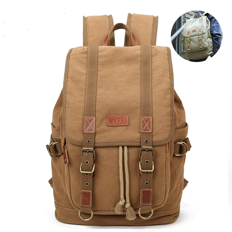 ФОТО 2016 spring and summer casual retro canvas backpacks travel bags computer bag with leather backpack K912