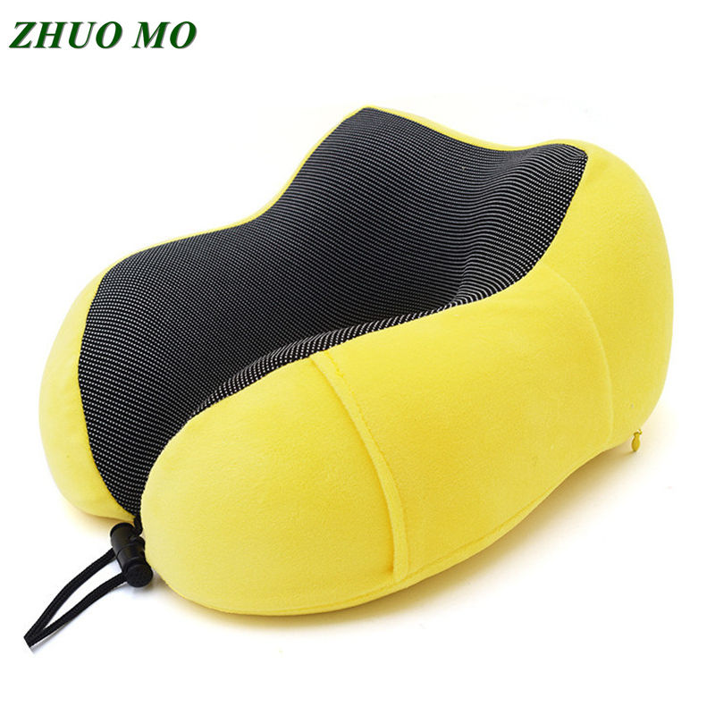 1PC U Shaped Memory Foam Neck Pillows Soft Slow Rebound Space Travel Pillow Solid Neck Cervical