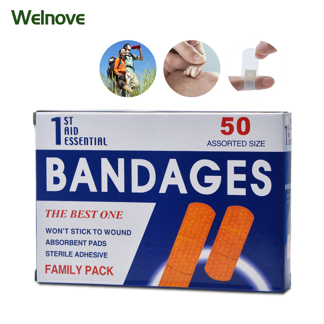 100pcs/2Box First aid bandage hemostatic medical disposable waterproof Band-Aid with a sterile gauze pad first aid Z13402