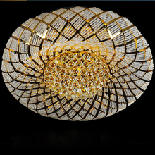 Modern Crystal Ceiling Lamps LED Gold Lights Fixture Round Bird Nest Home Indoor Lighting 3 White Colors Changeable