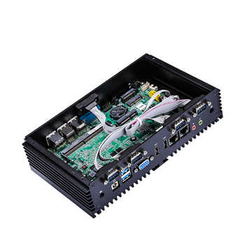 Qotom Mini PC Q510X Q515X Celeron 3855U 3865U Industrial Computer 7/24 Hours Working RS485 RS232 dual Lan 8 USB POS IPC HTPC