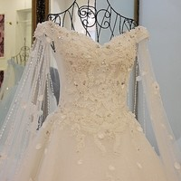 Backlake Luxury Wedding Dresses Princess with Long Cape Ivory Bridal Gowns Corset Back Robe De Mariee 2018 Real Photos