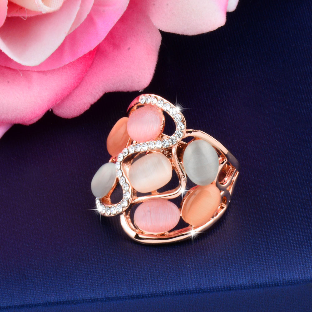 SINLEERY Wanita Luxury Berongga Multicolor Opal Batu Big Rings Ukuran 7 8 9 Rose Gold Warna Perhiasan Vintage Anel JZ509 SSB