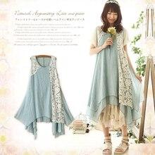 2016 Forest Girl Style Ruffle Loose Plus Size Lace Patchwork Elegant Vantage Lolita Dress Mori Girl Kawaii Long Dresses D140