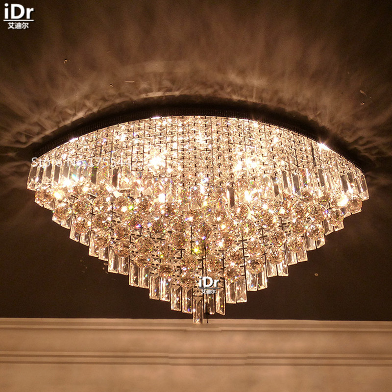 Continental dining room crystal bedroom lamp LED minimalist home entrance upscale cognac oval lamp Ceiling Lights EET-015