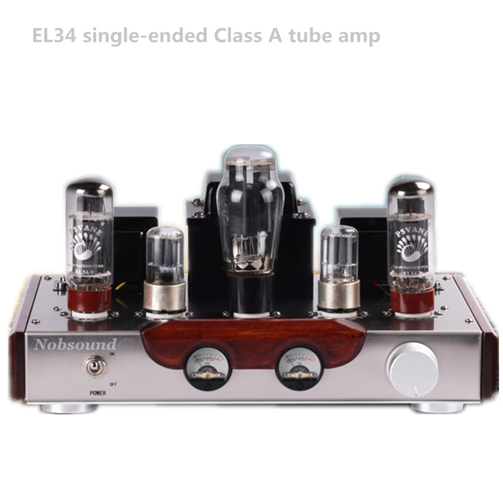 Nobsound Music - EL34 6N9P push el34 vacuum tube amplifier Class A hifi home audio speaker Bluetooth tube amplifier hot sell psvane el34 tube amplifier class a power amp high end brushed metal panel hifi amplifier 110v 220v