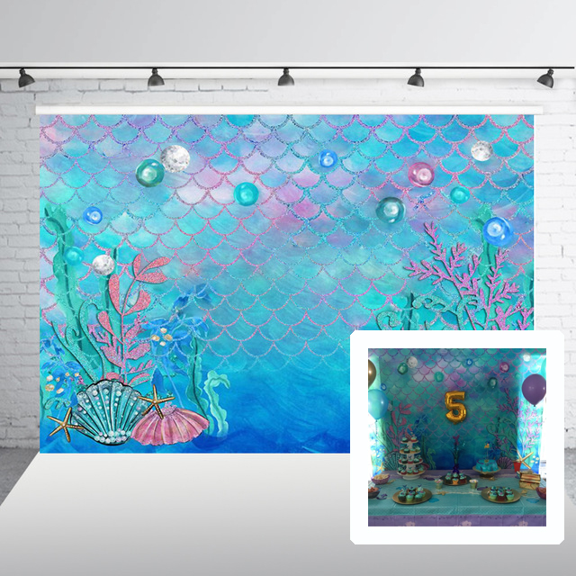Mermaid Background Baby Shower Birthday Photography Backdrop Under water Photobooth for Pictures HUAYI W-597Mermaid Background Baby Shower Birthday Photography Backdrop Under water Photobooth for Pictures HUAYI W-597