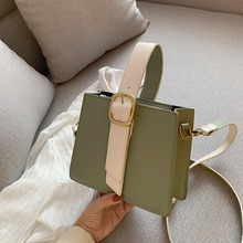 PU Solid Color Square Buckle Tote Bag Fashion Color Matching Retro Single Shoulder Slung Ladies Bag Wild Small Square Bag недорого