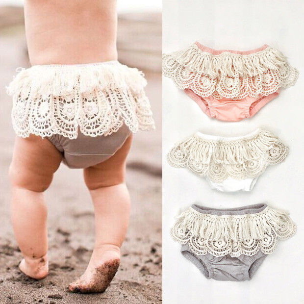 US STOCK Summer Toddler Baby Girls Lace Tassels Cotton Shorts Ruffle PP Pants Bloomers Diaper Nappy Shorts Baby Clothing 0-2T