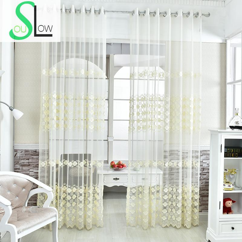 Cream Embroidery Yarn Mesh Curtain Floral Embroidered